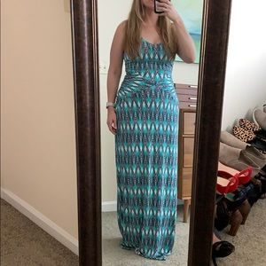 Tart Sleeveless Maxi Dress Navy White Green large